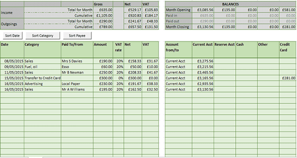 Excel Spreadsheet Bookkeeping