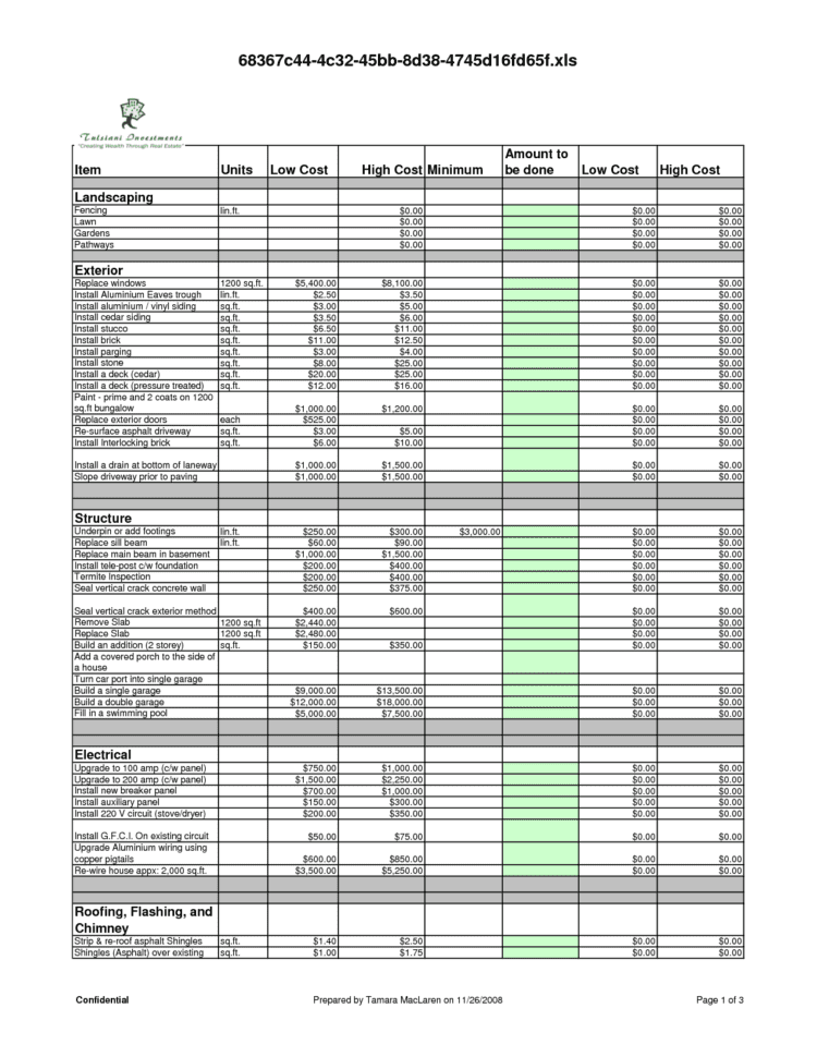 Excel Templates For Construction Estimating