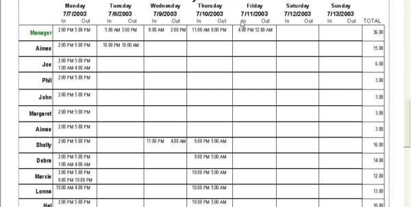Excel Work Schedule Template