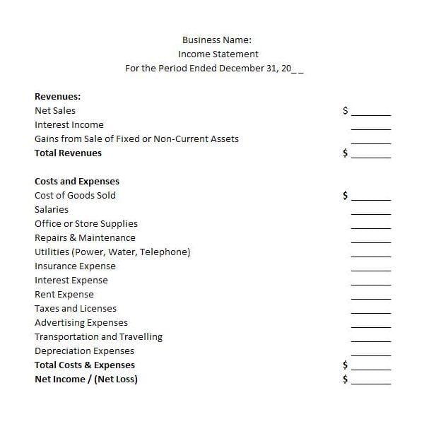 Financial Statements Templates For Nonprofit Organizations