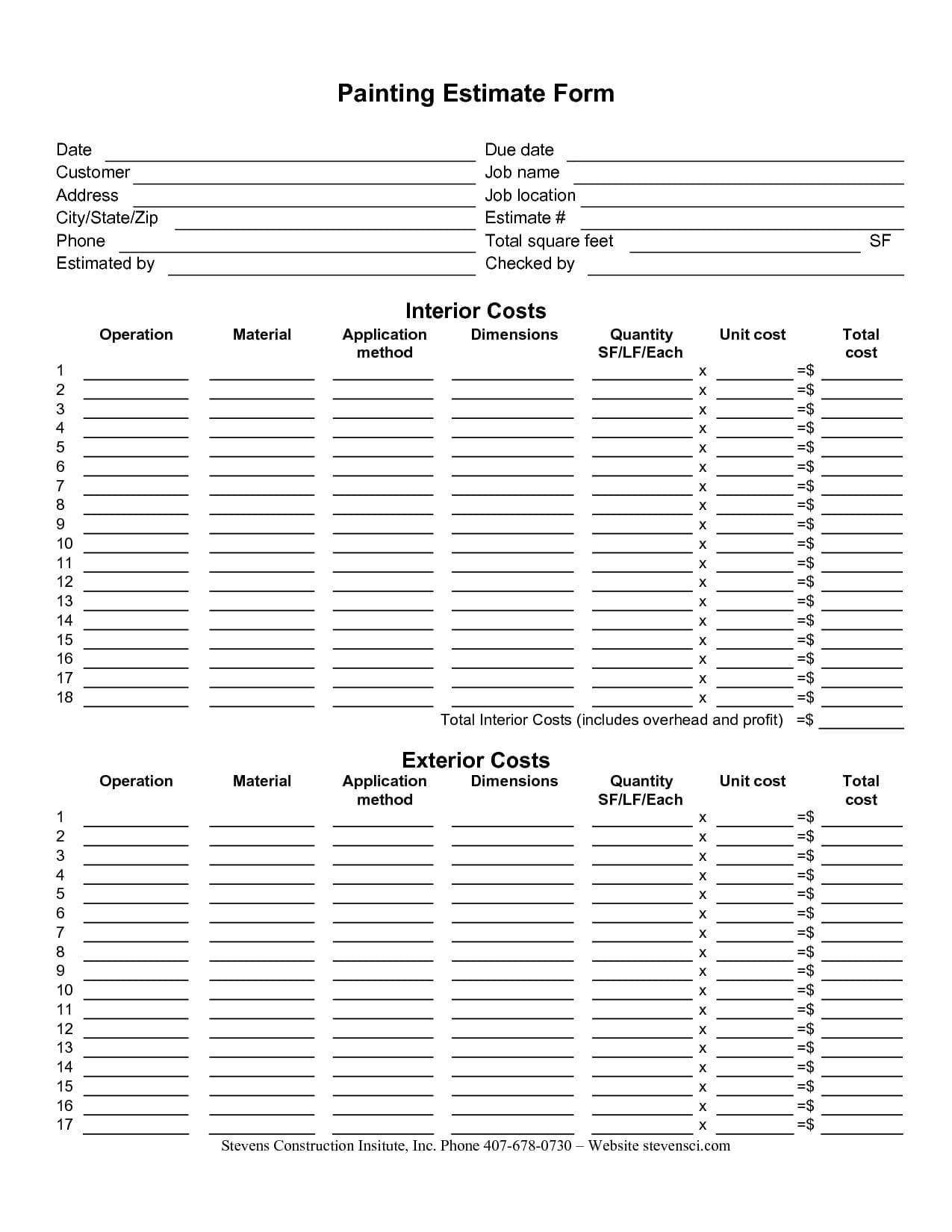 Free Building Estimate Format In Excel 1