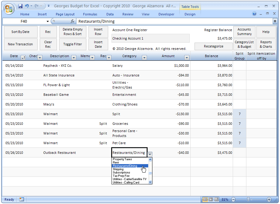 Free Checkbook Register Software