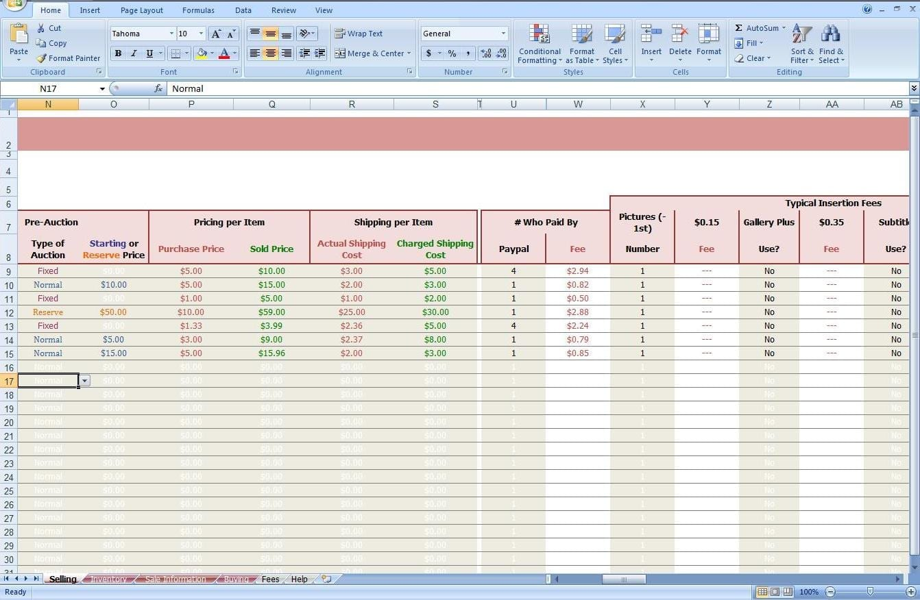 Free ebay accounting spreadsheet ebay spreadsheet template for Free ebay selling template