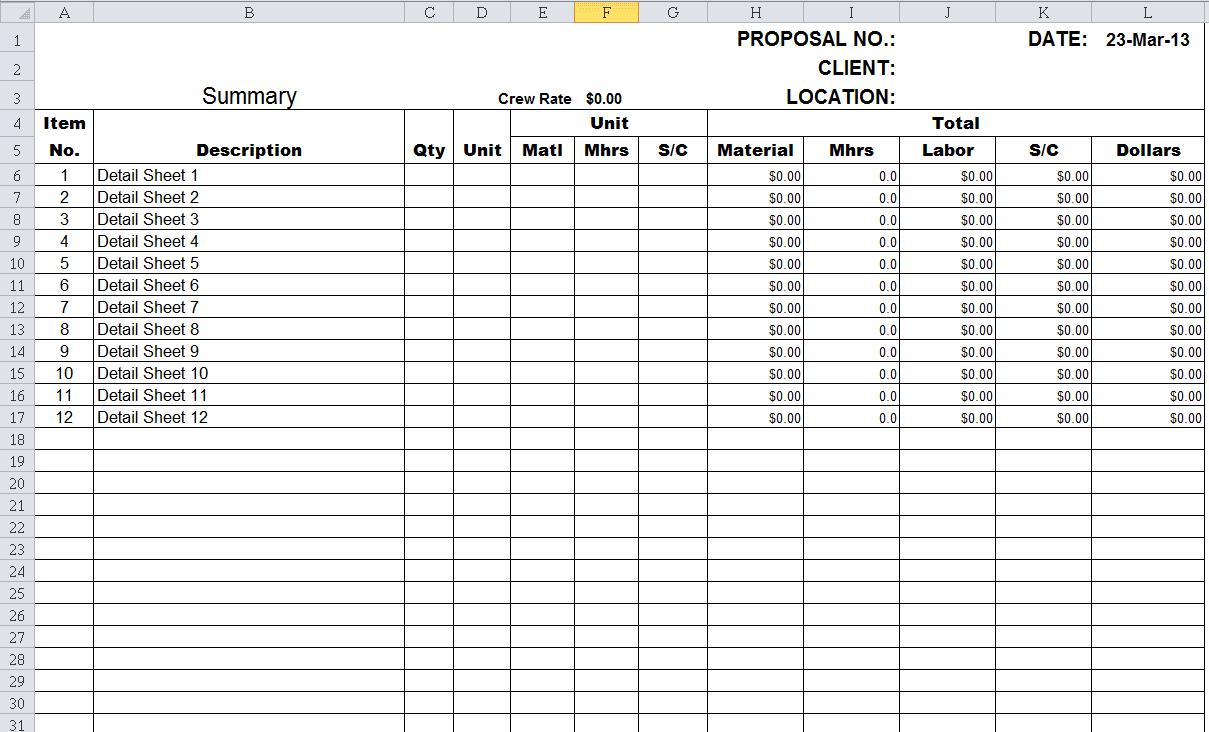 Free Estimating Spreadsheet Templates