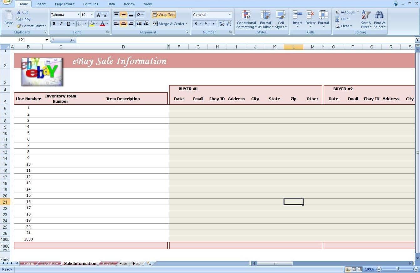 free spreadsheet for ebay sales