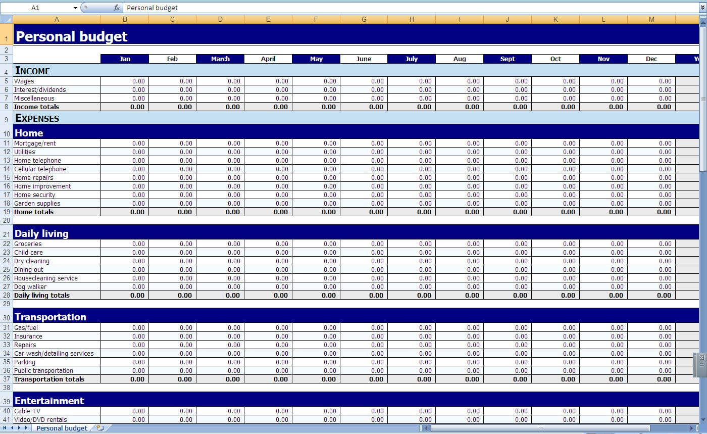 Income And Expenditure Template Excel Free