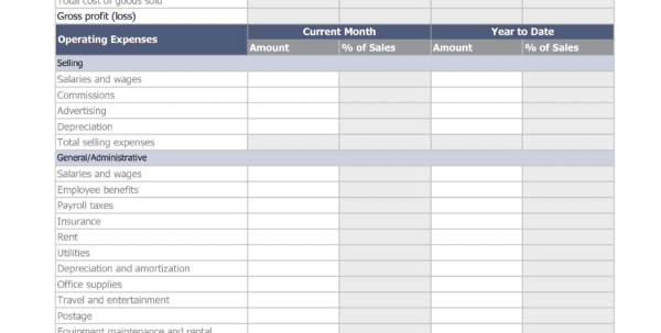 Income Statement Template Excel Mac