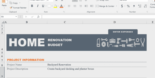Kitchen Renovation Budget Template