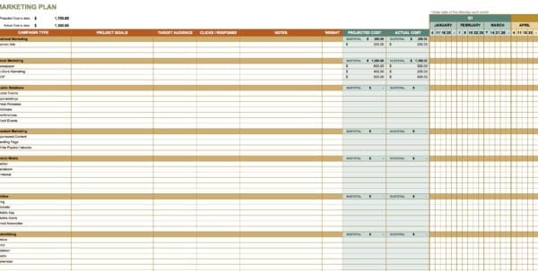 Marketing Contact Spreadsheet Marketing Spreadsheet Template