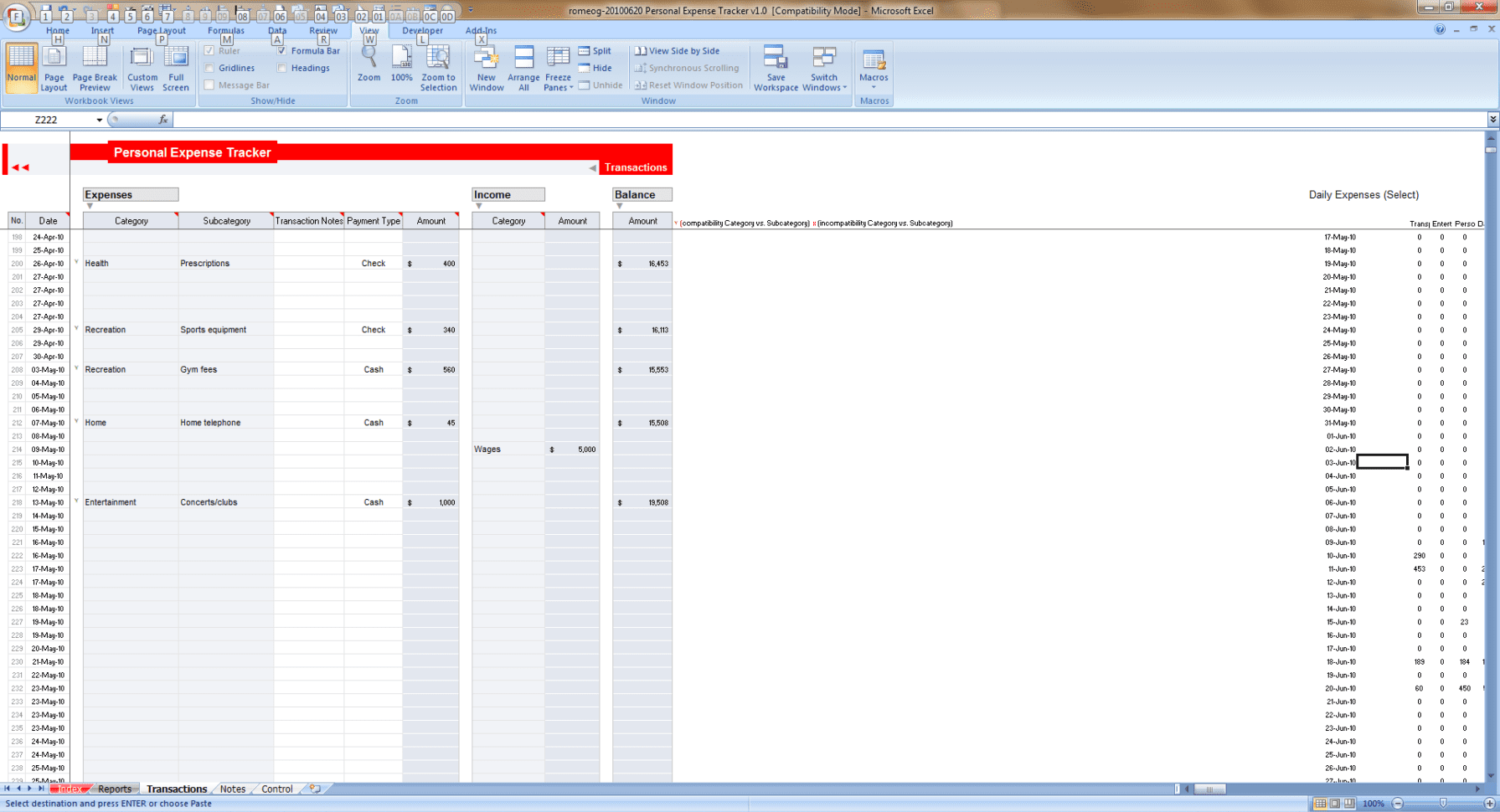 Microsoft Excel Time Tracker Template