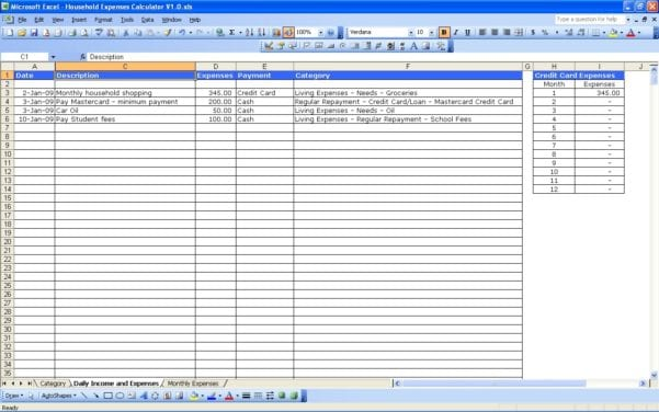 Samples Of Spreadsheets For Expenses Expense Spreadsheet Template – Free Profit and Loss Template for Self Employed