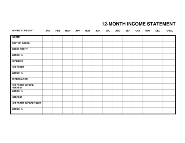 Monthly Income Statement Small Business