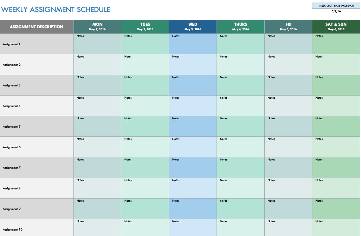 Monthly Schedule Template Excel Schedule Spreadsheet