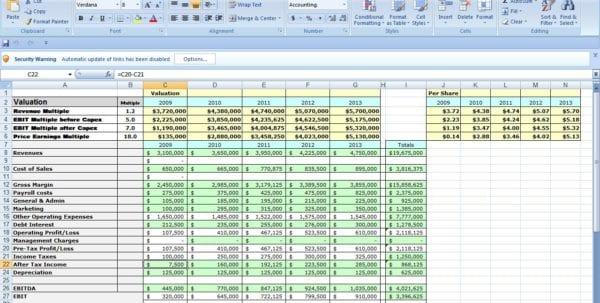 New Business Excel Spreadsheet