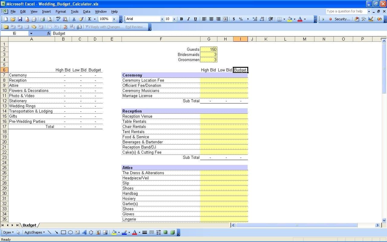 Printable Wedding Expense List