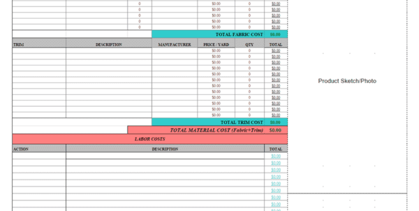 Product Cost Sheet In Excel