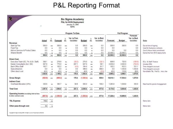 Profit And Loss Statement Template Excel 2007