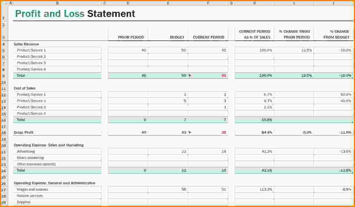 p u0026l spreadsheet template