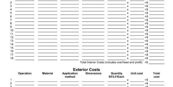 Construction estimating spreadsheet template project cost Residential construction cost estimator