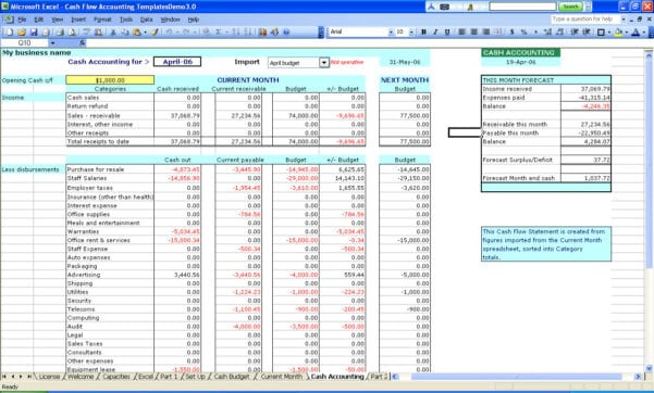 Sample Of Bookkeeping Spreadsheet