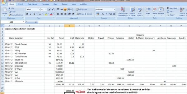 Simple Bookkeeping Sheet 1