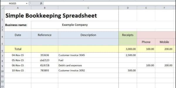 Simple Bookkeeping Spreadsheet