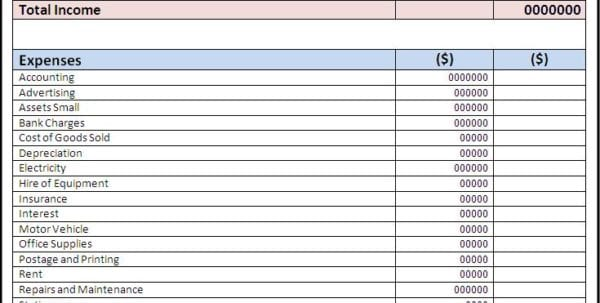 simple income statement template income spreadsheet