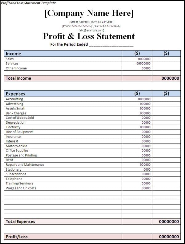 Simple Income Statement Template Spreadsheet Templates For Business Income Statement Template