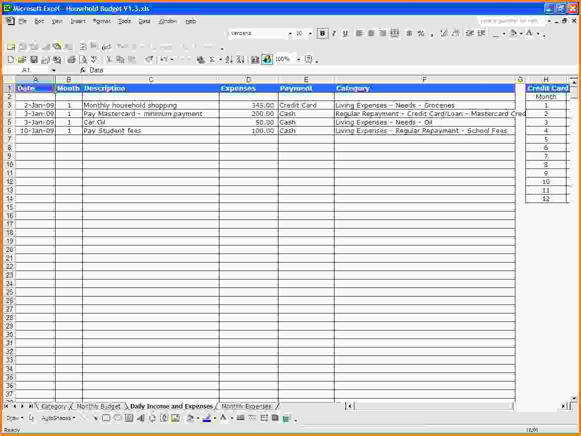 income and expenditure excel sheet