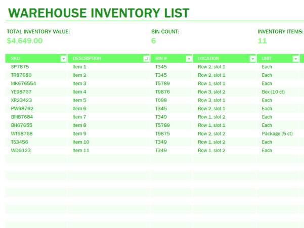 Stock Inventory Excel Format Free
