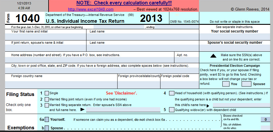 Tax Return Spreadsheet Template
