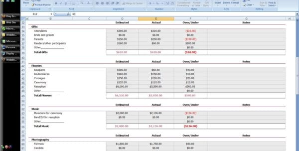 Wedding Budget Spreadsheet Uk