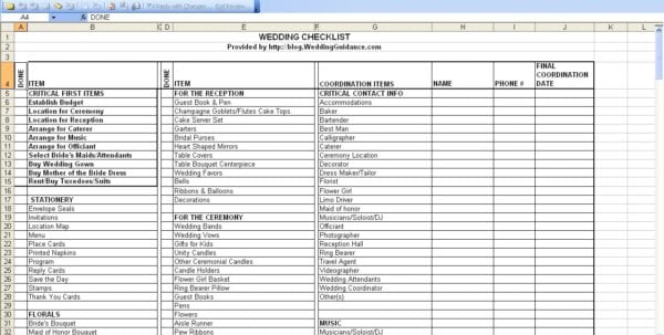 Wedding Budget Spreadsheet Uk Planning Checklist Excel Guest List Template Pdf