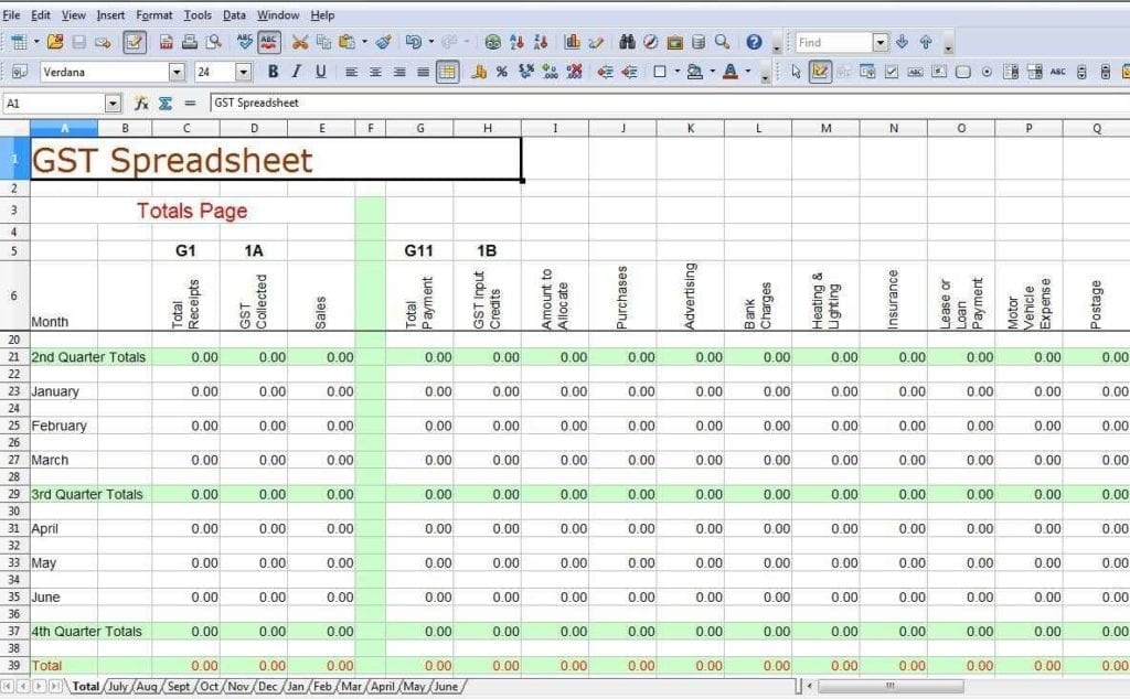 Example Of Bookkeeping Spreadsheet