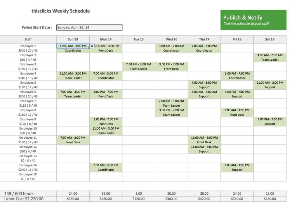 Excel Spreadsheet Scheduling Sample