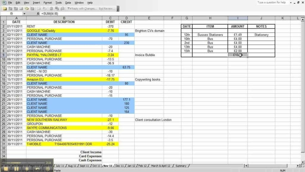 Accounting Spreadsheet Template For Small Business 1