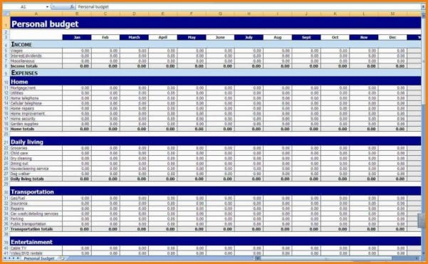 Accounts Spreadsheet Template