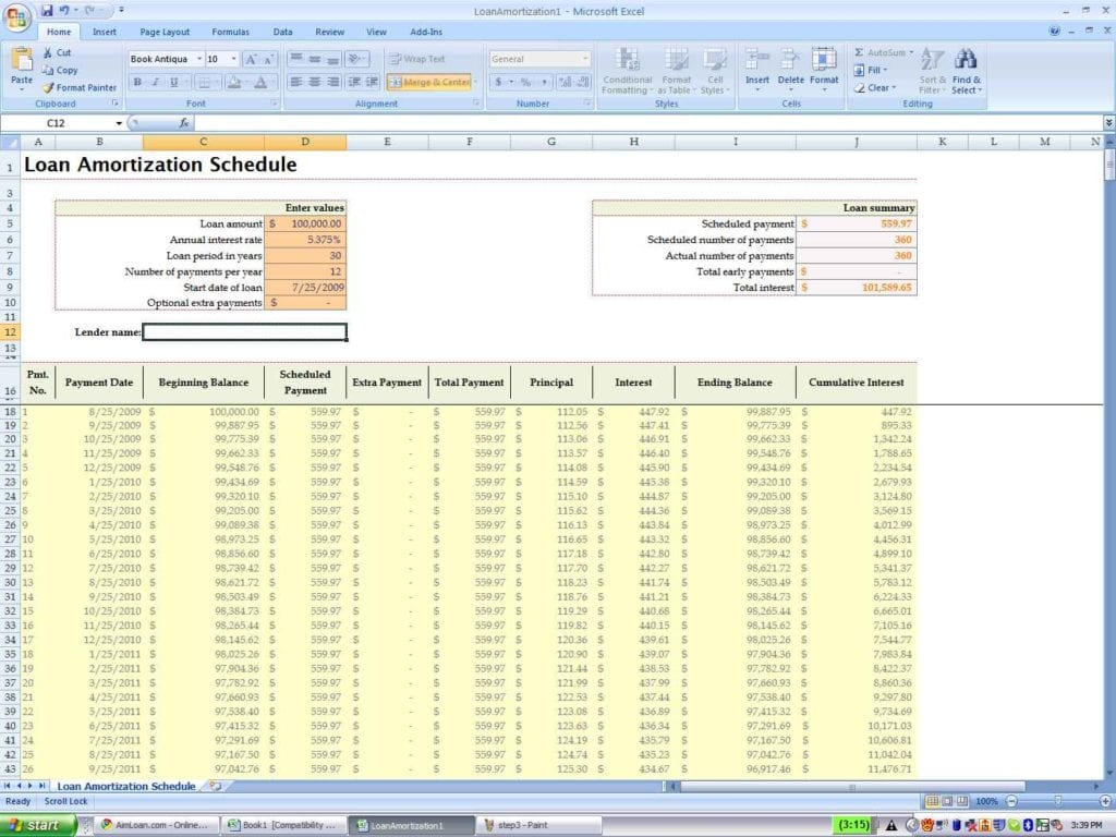 Amortization Spreadsheet Excel Free