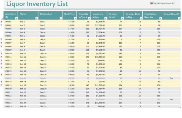 Bar Inventory Spreadsheet Download