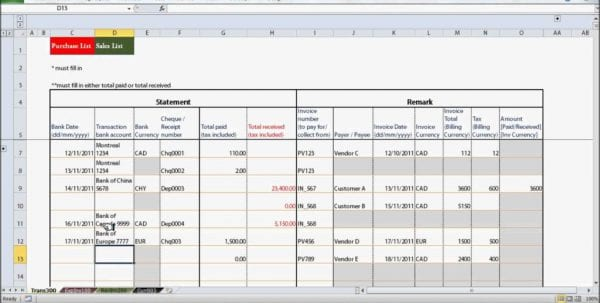 Basic Excel Spreadsheet For Small Business