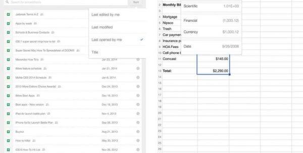 Bill Spreadsheet App