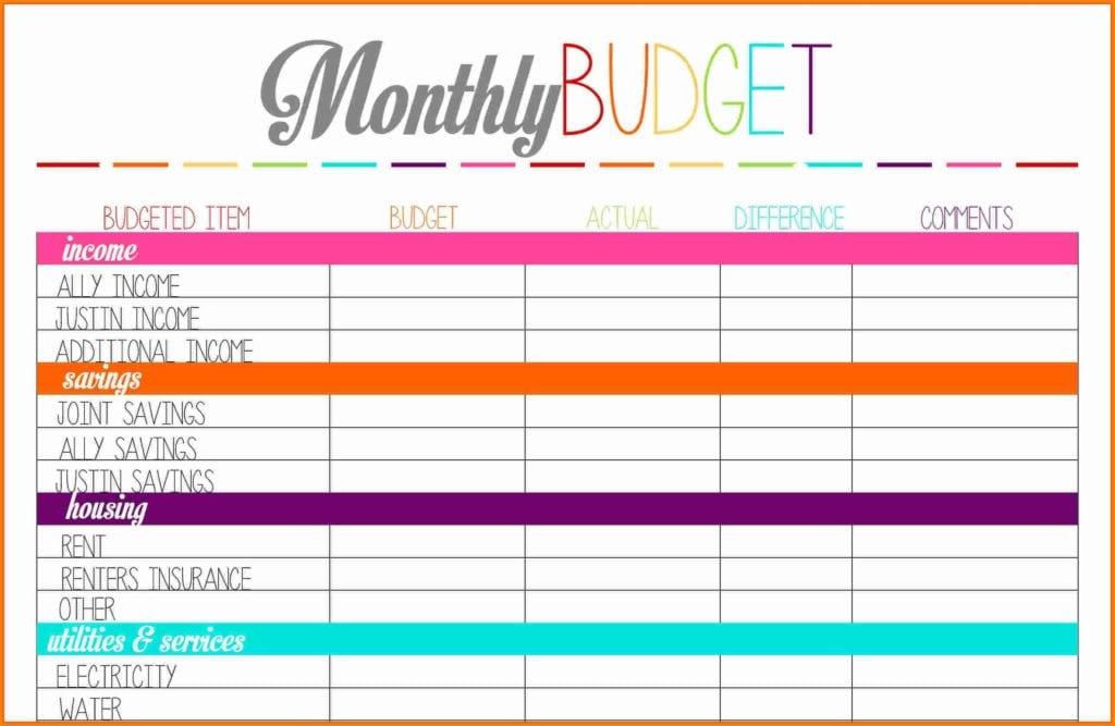 Budget Sheet Template Free