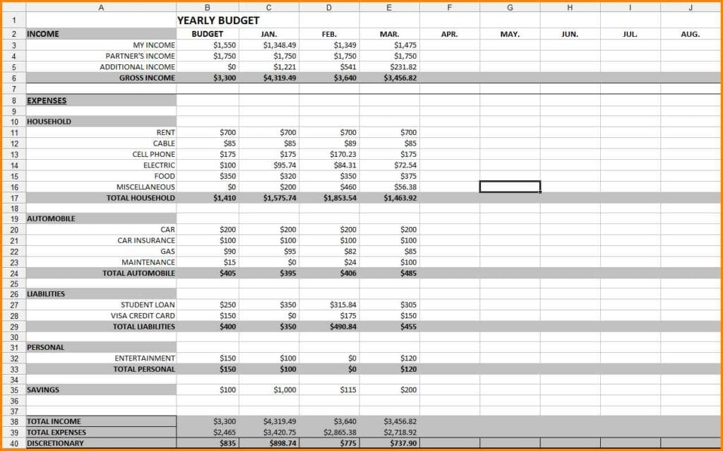 Budget Spreadsheet Template Excel 1 3