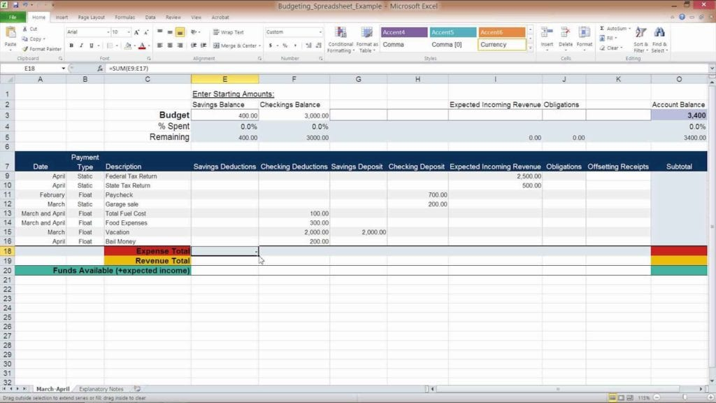 Budget Spreadsheet Template Excel