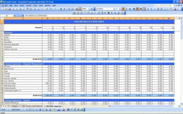 Budget Tracking Sheet Excel