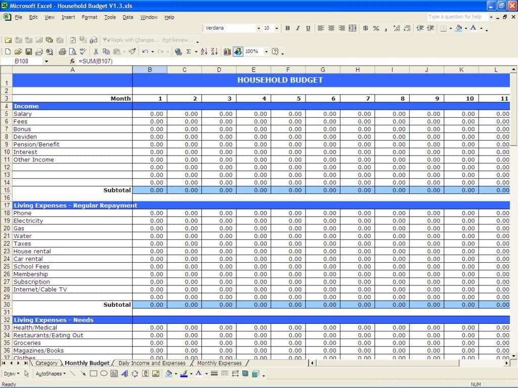 Budget Tracking Spreadsheet Template