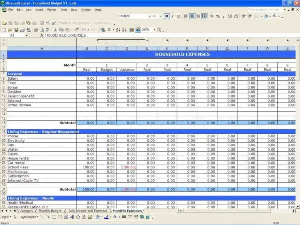 Business Budget Spreadsheet Template Free