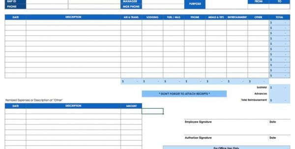 Business Expense Categories Spreadsheet1