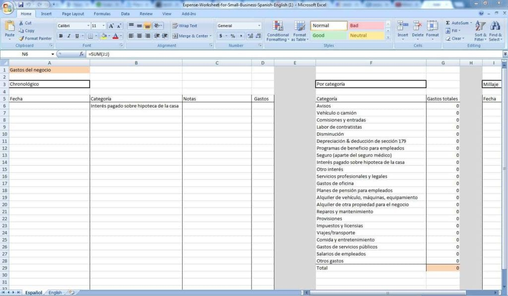 Business Expense Spreadsheet Example 2