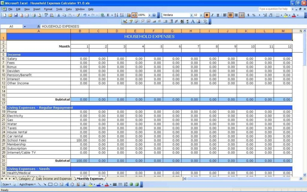 Business Income And Expense Spreadsheet Template